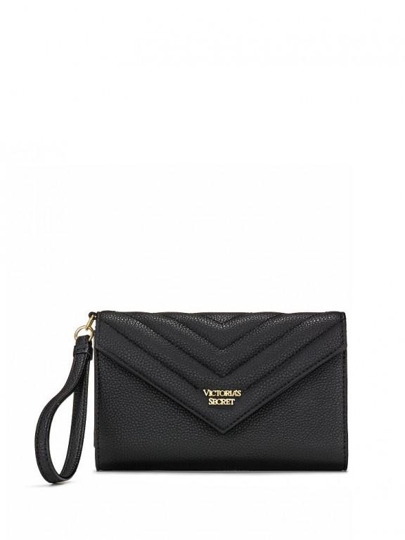 Victoria's Secret černá peněženka Pebbled V-Quilt Tech Clutch