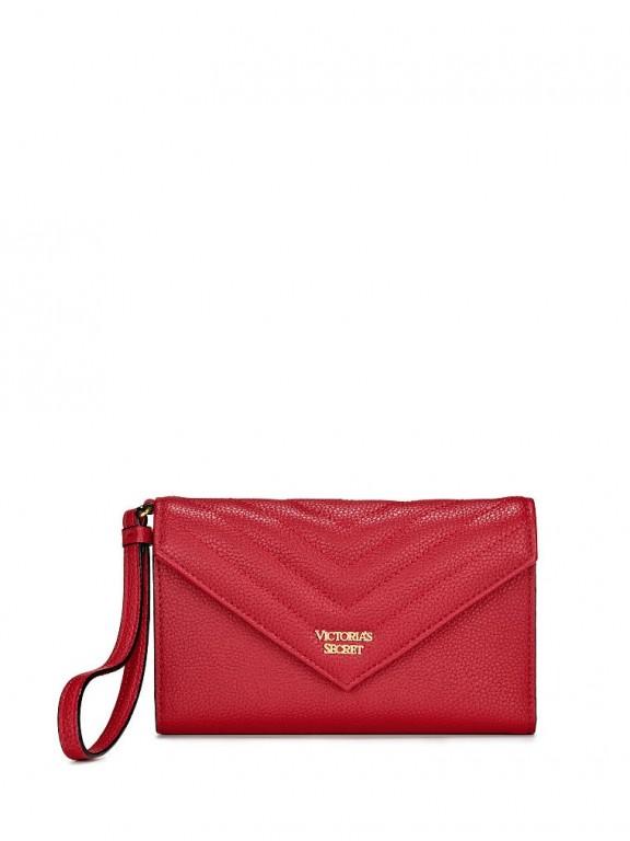 Victoria's Secret červená peněženka Pebbled V-Quilt Tech Clutch