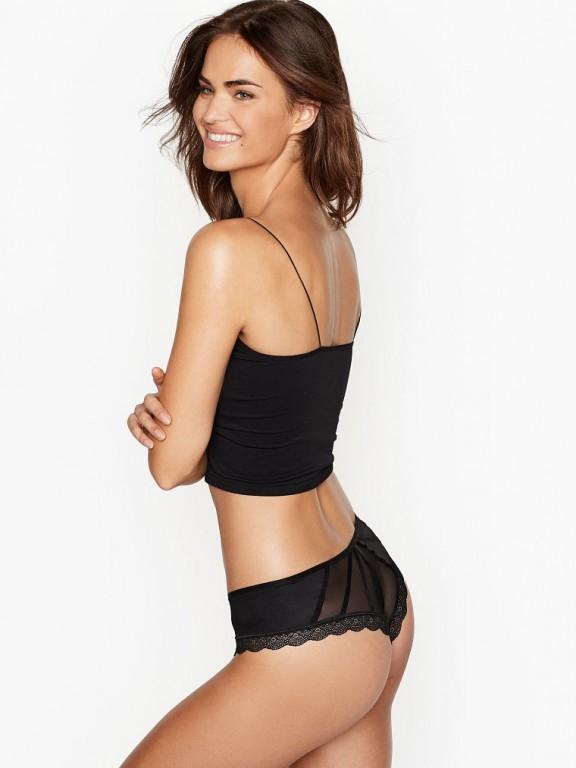 Victoria's Secret sexy černé brazilské kalhotky Strappy Mesh Cheeky Panty