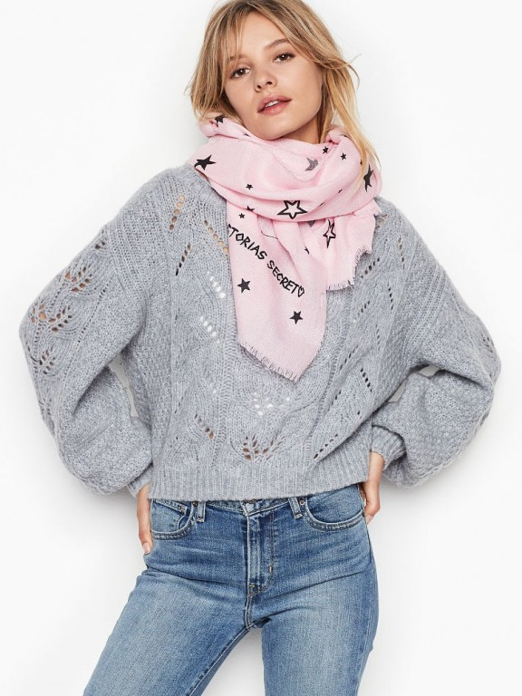 Victoria's Secret růžový šátek Winter Angel Scarf