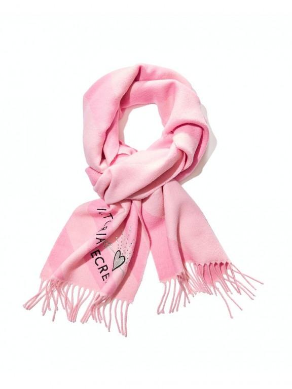 Victoria's Secret růžová šála Winter Angel Buffalo Check Scarf