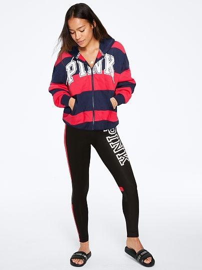 Victoria's Secret PINK pruhovaná mikina Boyfriend Rugby Full-Zip