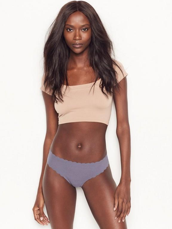 Victoria's Secret šedá bezešvá tanga No-show Thong Panty