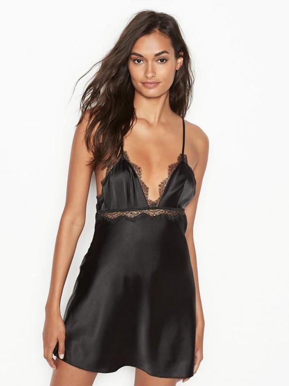 Victoria's Secret luxusní černá sexy noční košilka Satin & Lace Slip