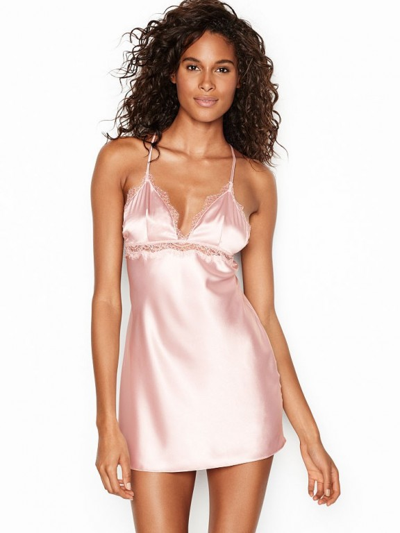 Victoria's Secret růžová luxusní noční košilka Satin & Lace Slip
