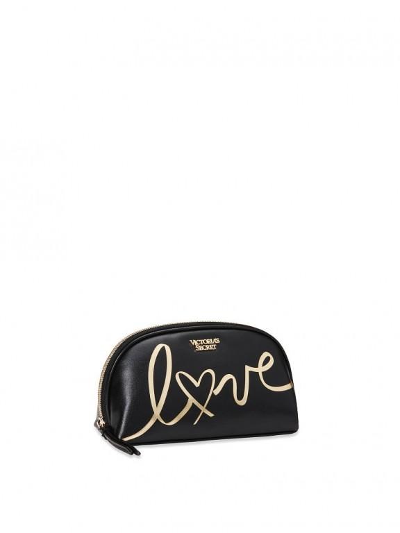 Victoria's Secret černá kosmetická taštička Love Beauty Bag