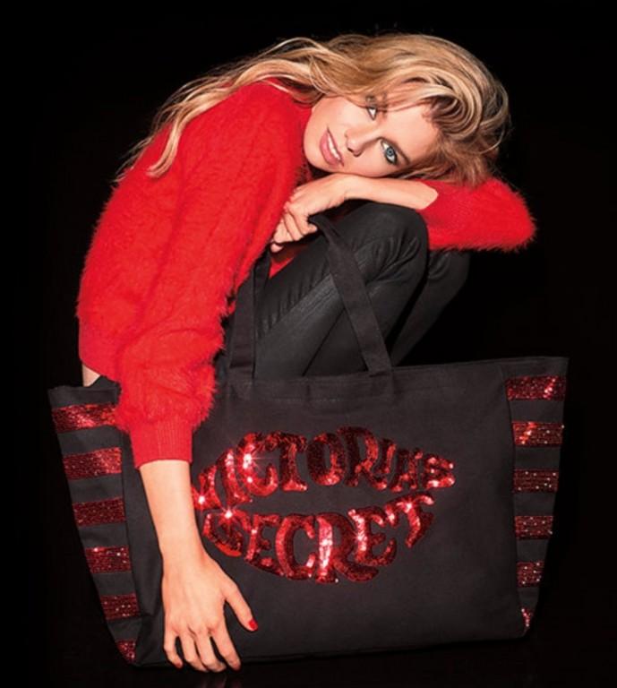 Victoria's Secret velká černá plátěná taška s flitry Black & Red Sequins Lip Tote
