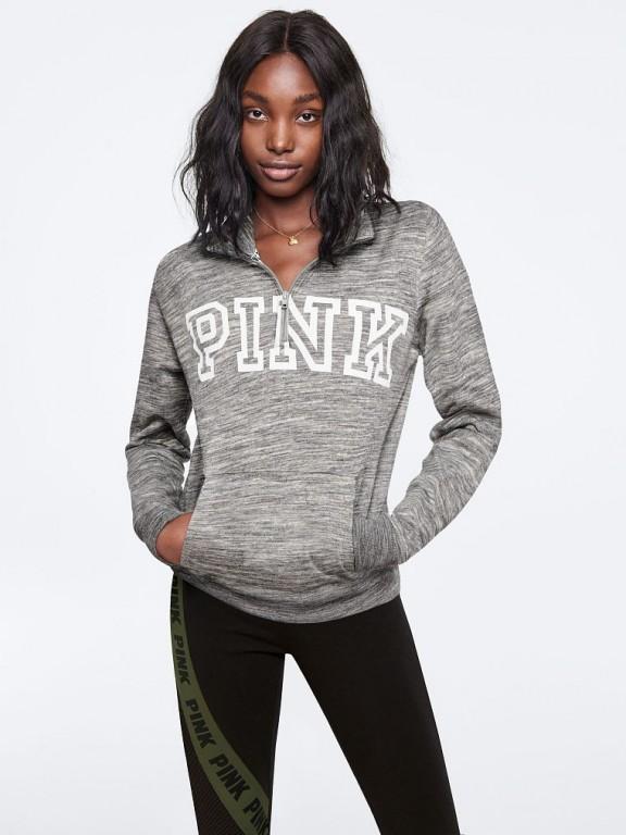 Victoria's Secret PINK šedá mikina Perfect Quarter-Zip