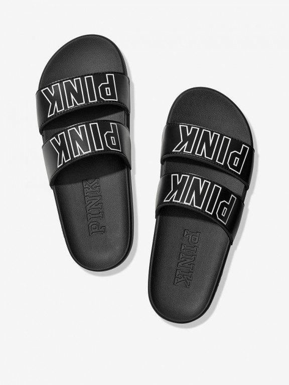 Victoria's Secret PINK černé pantofle Double Strap Sport Slide