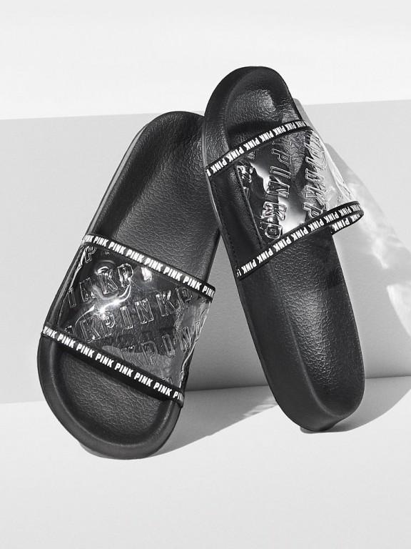 Victoria's Secret PINK dámské pantofle Single Strap Slide průhledné