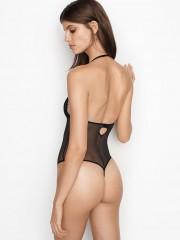 Victorias Secret černé krajkové průsvitné body