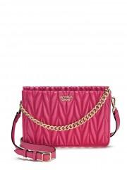 Růžová luxusní kabelka se zlatými detaily