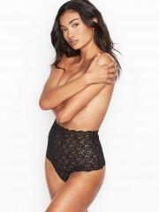Victorias Secret černé krajkové kalhotky s vysokým pasem