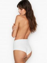 Pohodlné bílé bezešvé kalhotky s vysokým pasem