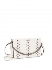 Luxusní bílá kabelka s kovovými detaily